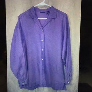 Gap Purple Long Sleeve Button Blouse Shirt Size L